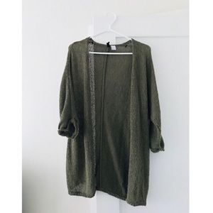 H&M olive green open knit cardigan